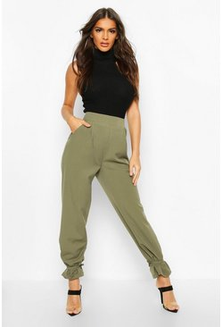 Tie Hem Tailored Trousers, Khaki