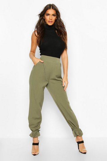 Khaki Tie Hem Tailored Trousers