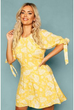 Yellow Plus Floral Puff Shoulder Tie Sleeve Skater Dress