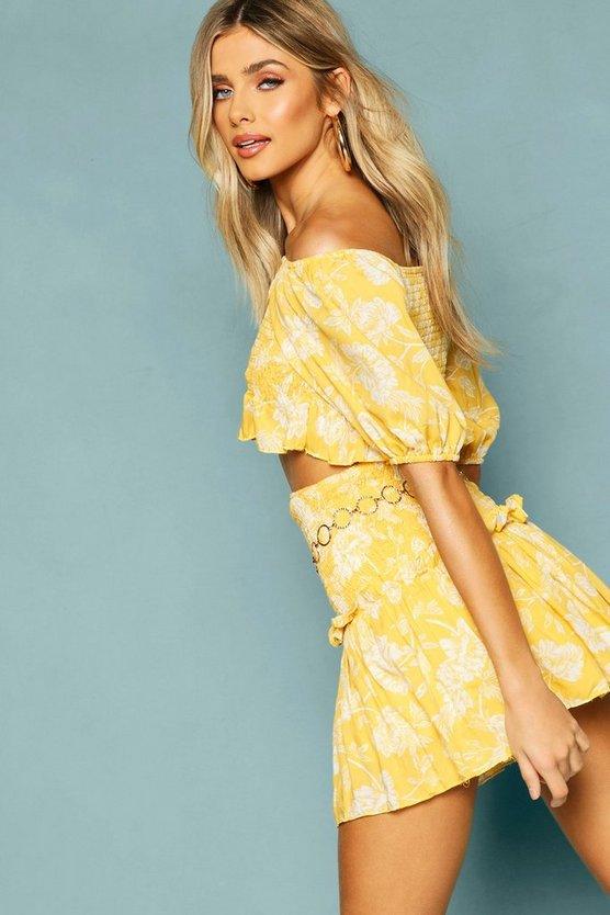 Floral Shirred Detail Ruffle Mini Skirt