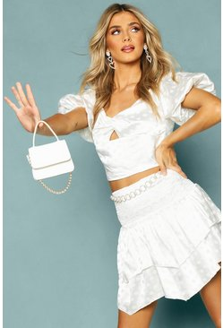 Womens White Satin Shirred Detail Ruffle Mini Skirt