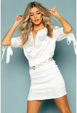 White Satin Tie Sleeve Shirred Shirt Dress