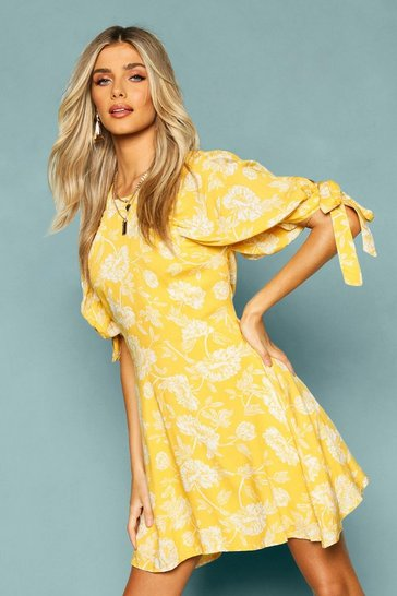 Yellow Floral Puff Shoulder Tie Sleeve Skater Dress