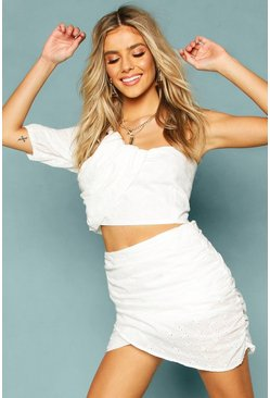 White Broderie Anglais Ruched One Shoulder Crop Top