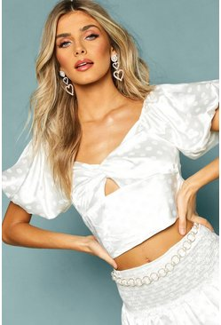 Womens White Satin Puff Sleeve Top