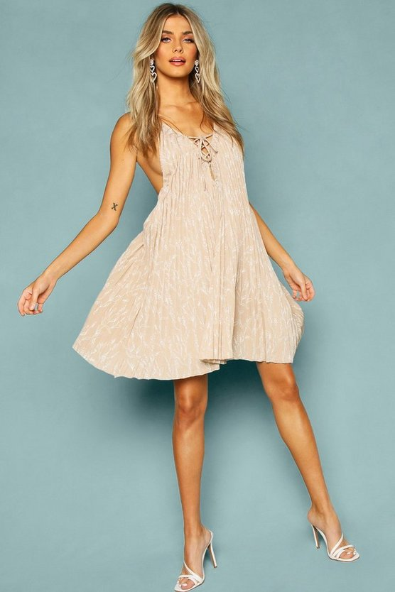 Tan Floral Print Lace Front Swing Dress