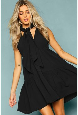Womens Black Woven Tie Neck Tiered Smock Dress