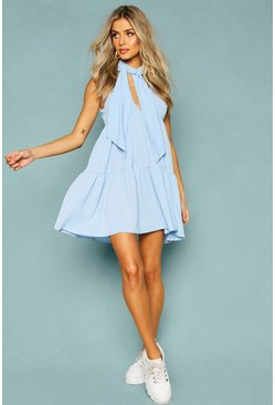 Womens Blue Woven Tie Neck Tiered Smock Dress