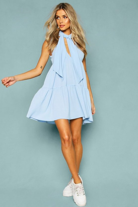 Woven Tie Neck Tiered Smock Dress