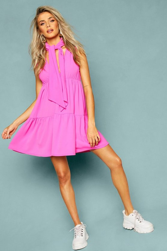 Woven Tie Neck Tiered Smock Dress by Boohoo
