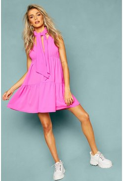 Womens Pink Woven Tie Neck Tiered Smock Dress