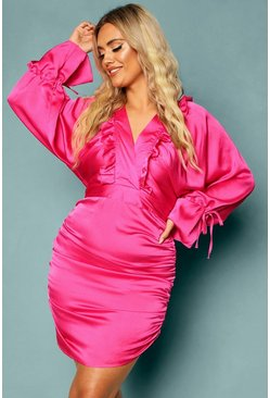 Pink Plus Woven Batwing Ruched Mini Dress