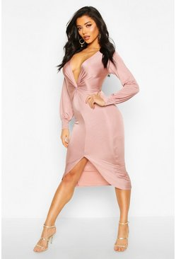 Womens Rose Twist Front Plunge Slinky Midi Dress