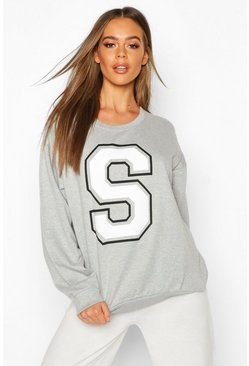 S Initial Slogan Oversized Sweat, Grey