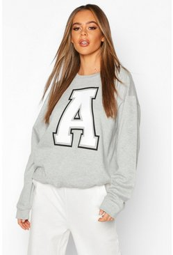 A Initial Slogan Oversized Sweat, Grey