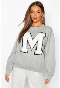 M Initial Slogan Oversized Sweat, Grey