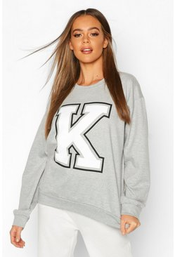 Grey K Initial Slogan Oversized Sweat