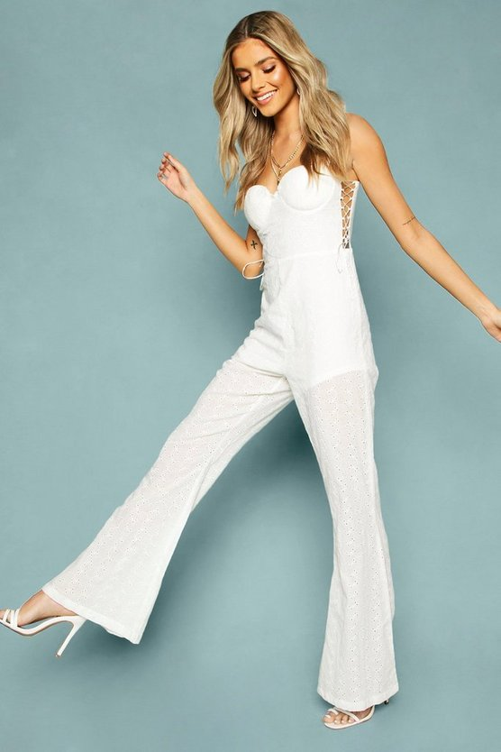 Broderie Anglais Lace Up Flared Jumpsuit