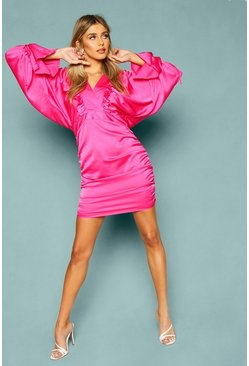 Pink Woven Batwing Ruched Mini Dress
