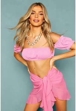 Pink Chiffon Ruffle Wrap Tie Side Sarong Cover Up