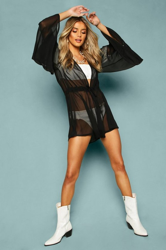 Womens Black Chiffon Extreme Flared Sleeve Beach Playsuit
