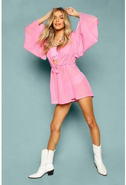 Womens Pink Chiffon Extreme Flared Sleeve Beach Playsuit