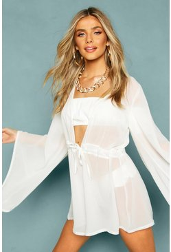 Womens White Chiffon Extreme Flared Sleeve Beach Playsuit