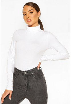 Roll Neck Long Sleeve Bodysuit, White