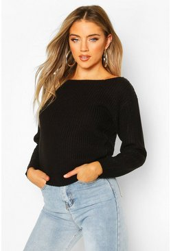 Black Slash Neck Crop Fisherman Sweater