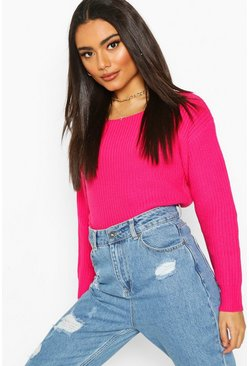Slash Neck Crop Fisherman Jumper, Hot pink