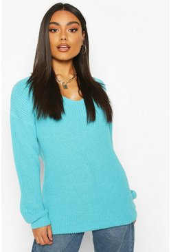 Turquoise Oversized Fisherman V Neck Jumper