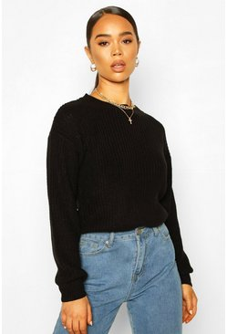 Black Fisherman Crew Neck Jumper
