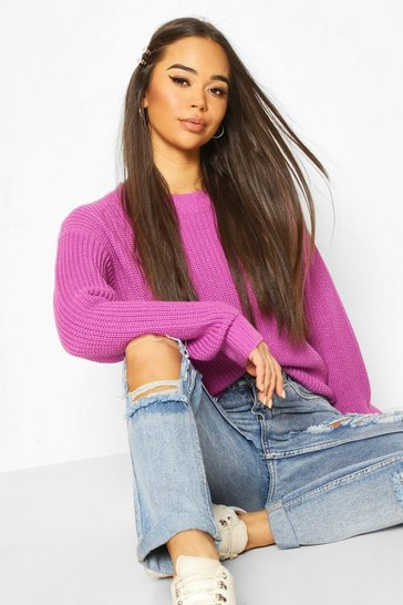 Electric purple Fisherman Crew Neck Jumper