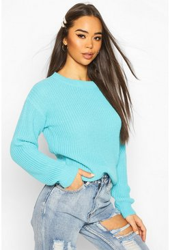 Turquoise Fisherman Crew Neck Jumper
