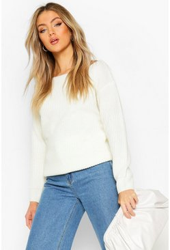 Slash Neck Fisherman Jumper, Ivory