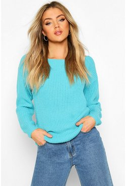 Turquoise Slash Neck Fisherman Sweater