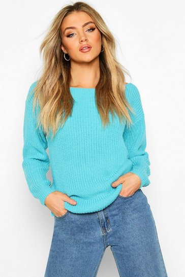Turquoise Slash Neck Fisherman Jumper