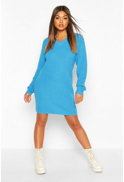 Fisherman V Neck Jumper Dress, Blue