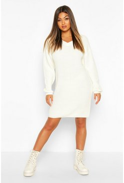 Fisherman V Neck Jumper Dress, Ivory