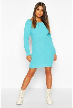 Slash Neck Fisherman Jumper Dress, Turquoise