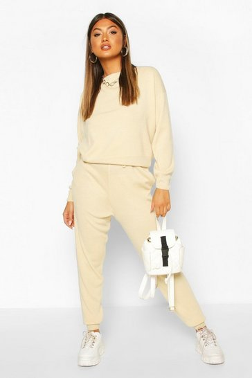 Ecru Slash Neck Knitted Jogger Lounge Set