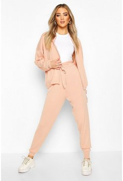 Zip Through Knitted Lounge Set, Blush
