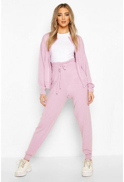 Lilac Zip Through Knitted Lounge Set