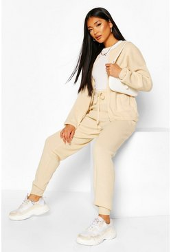 Ecru Zip Through Knitted Lounge Set