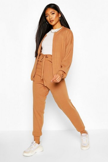 Toffee Zip Through Knitted Lounge Set