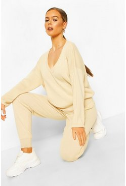 V Neck Knitted Jogger Lounge Set, Stone