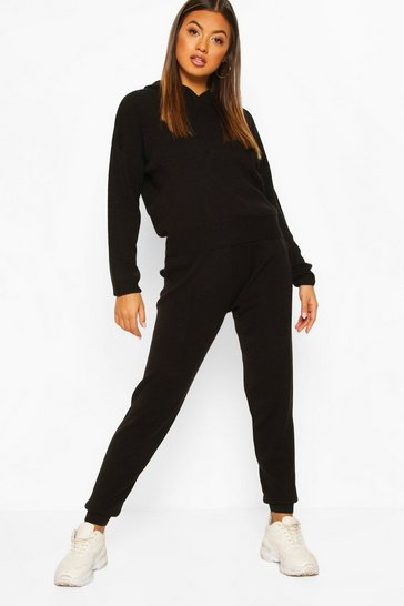 Black Hoody Knitted Lounge Set