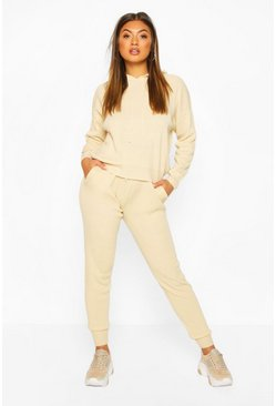 Hoody Knitted Lounge Set, Stone