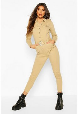 Western Buckle Denim Boiler Suit, Camel, Donna