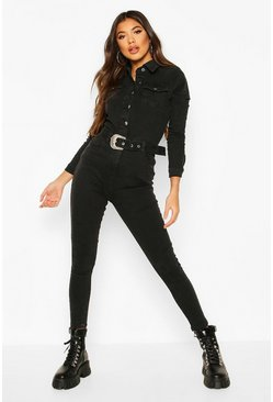Womens Charcoal Western Buckle Denim Boiler Suit